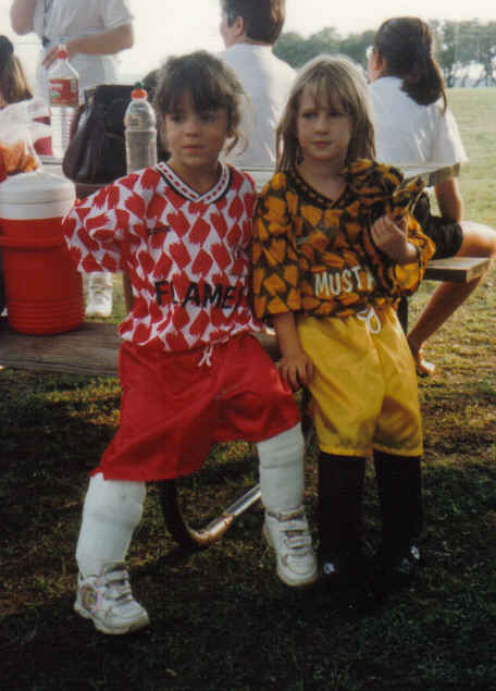 Tara and Kendall 1st year soccer 1996