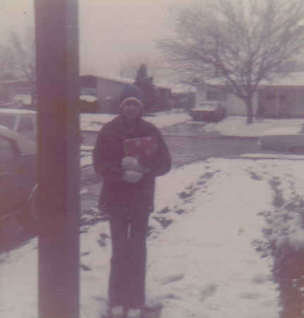 Patti in the snow at my house 1972