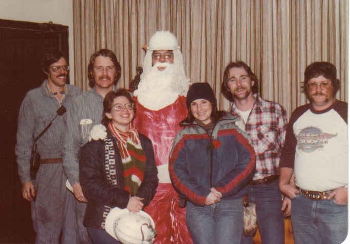 Dupont christmas 81 gene w, larry mc, paula b, jim josey 'santa', me, larry shoaf, robert 'cowboy' puckett