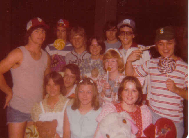 Senior kid day '77 back ltor randy w., mark b., larry q, teason, curtis h. billy h. rusty h. front ltor, me, wesley h, tamara, darla h., brenda c.