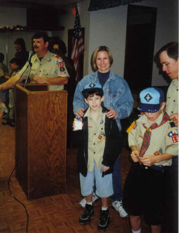 Pack meeting 1998ish - Jim, Daniel, me, Justin, Mike