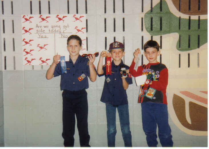 Tommy, Michael, Andrew winners Pinewood Derby