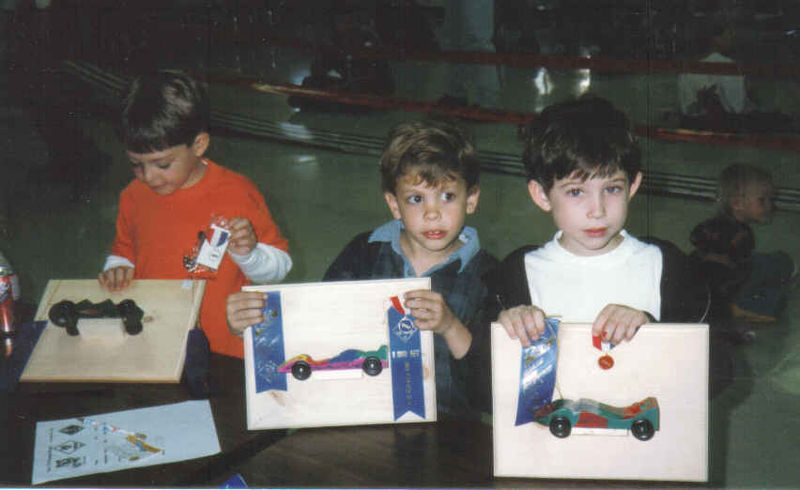 Larry, Matthew, Daniel Pinewood Derby 1996ish