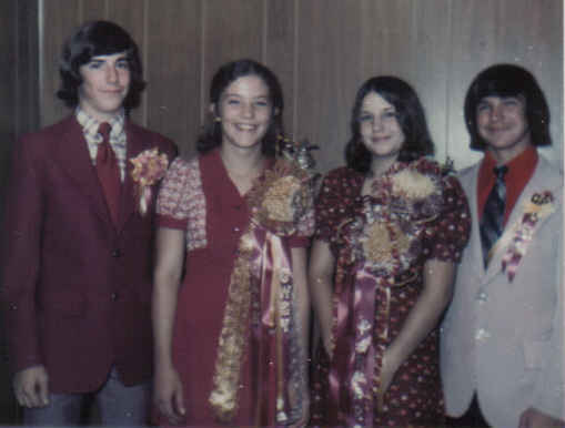 Dale, Gwen, me, Larry Homecoming 9th grade 1973