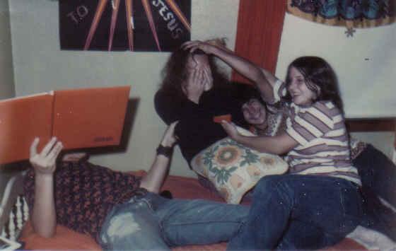 Van Harrod, Denise, Larry, me 9th grade 1973 cropped