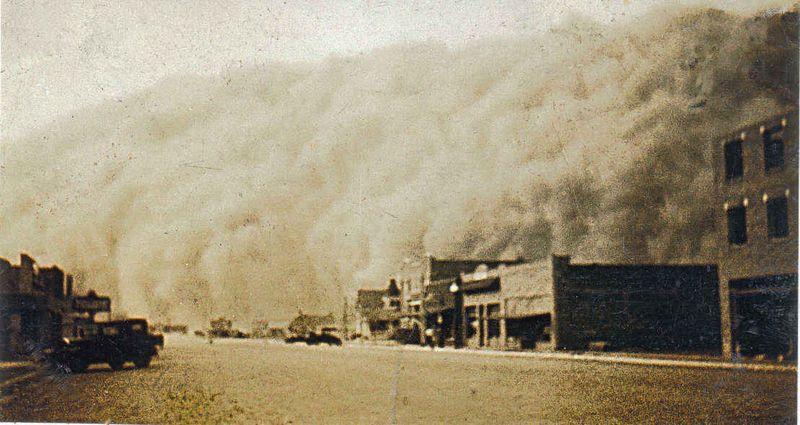 Dust storm in Stratford in 1930's by Durward