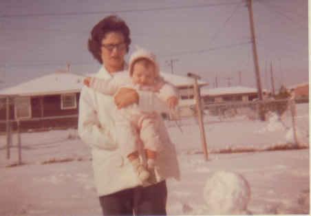 Texas snow, me and mama, 1960ish