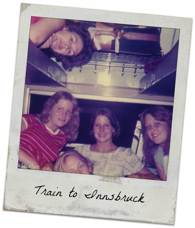 Paris to Innsbruck, overnight train, Betty, Donna, Joe, me, Laura