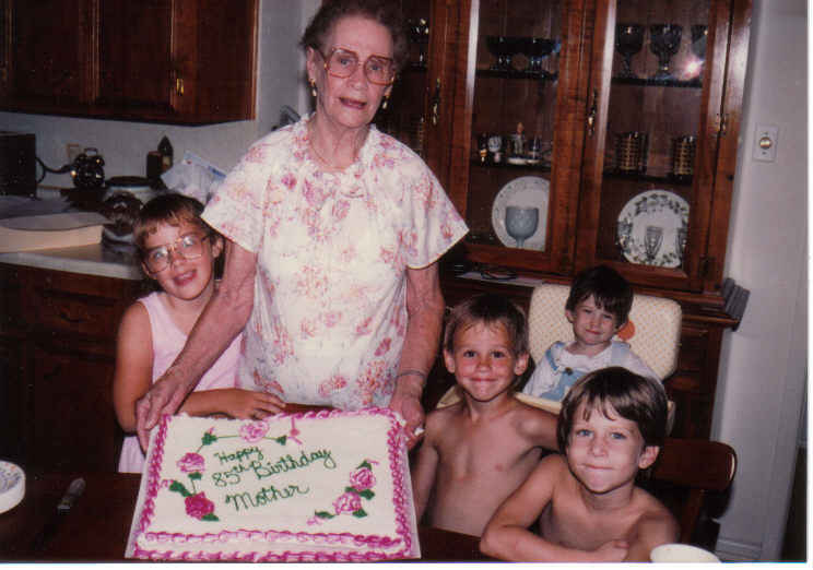Annie b's 85th bday with christin, daniel, evan and tommy 1991